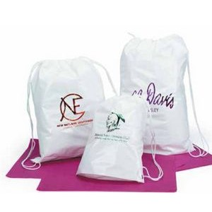 "White Gloss Cotton Drawstring Shoulder Tote Bag (16""x20"")"