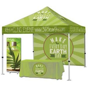 Event Tent Package #3 – Tent + Full Back Wall + Throw + Banner Stand